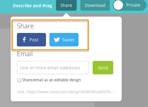 social share buttons in canvas